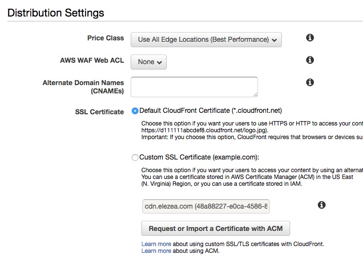CloudFront settings