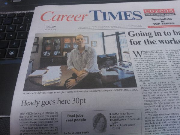 Cape Times headline